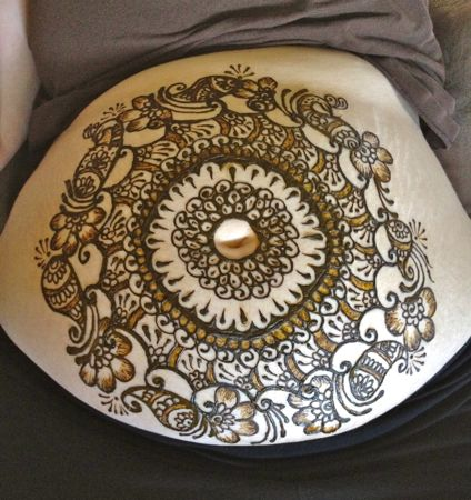 Henna belly mandala two toned